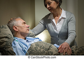 soucier, femme, inquiété, malade, personne agee, mari
