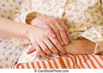 soucier, nécessiteux, portion, -, mains