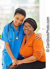 soucier, patient, africaine, personne agee, infirmière