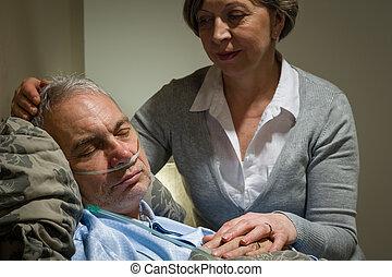 soucier, patient, dormir, infirmière, mâle, personne agee