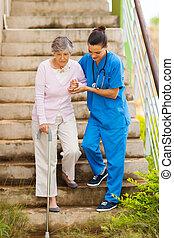 soucier, portion, malade infirmière, personne agee