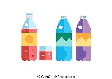 soude, ou, jus, bouteilles, thé, eau