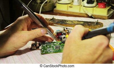 soudure, électronique, planche, circuit