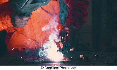 soudure, arc, métal, machine, fonctionnement, soudeur