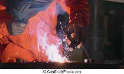 soudure, machine, métal, soudeur arc, fonctionnement