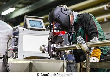 soudure, orbital, ouvrier, machine., industriel, monture
