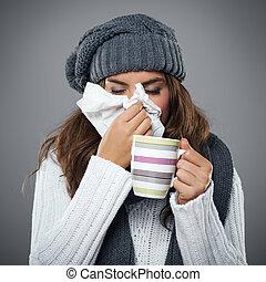 souffler, mouchoir, elle, grippe, jeune femme, nez, avoir
