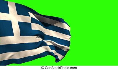 souffler, national, grand, drapeau, grèce