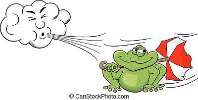 souffler, parapluie, grenouille, nuage, dessin animé, vent