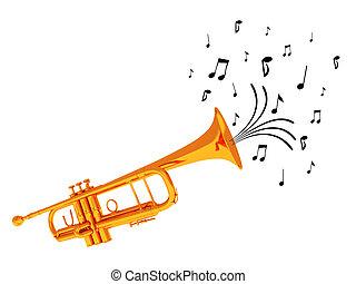 souffler, trompette, notes.