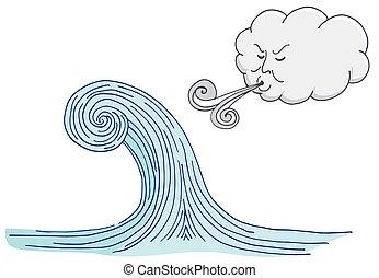 souffler, vague, venteux, marée, dessin animé, nuage