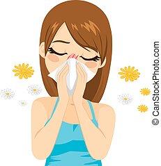 souffrance, allergie, femme