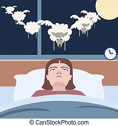 souffrance, insomnie, personne, rigolote, dessin animé