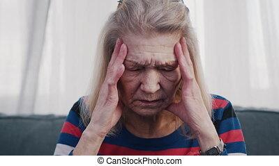 souffrance, vieux, solitaire, femme, mal tête