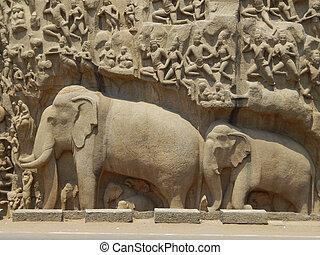 soulagements, éléphant, mahabalipuram