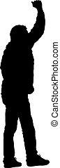 soulevé, sien, illustration, arrière-plan., silhouettes, vecteur, noir, mains, blanc, homme