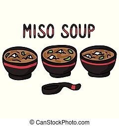 soupe, illustration., cuillère, dessiné, art., mignon, asiatique, miso, déjeuner, bols, main, agrafe, ensemble, typographie