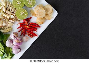 soupe, thaï, tom, yum, ingrédients