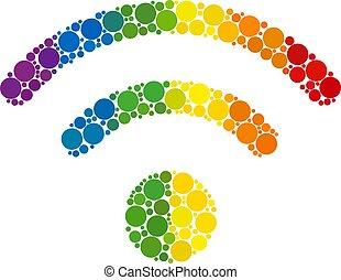 source, spectre, composition, cercles, icône, wi-fi