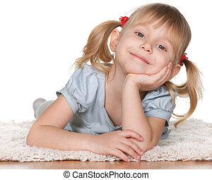 sourire, adorable, girl, mensonge, plancher