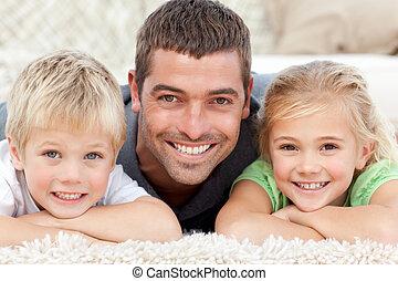 sourire, appareil photo, papa, enfant
