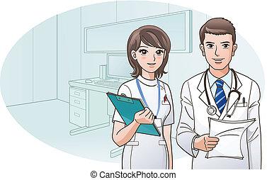 sourire, confiant, docteur, infirmière