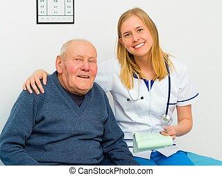 sourire, confiant, patient, jeune docteur