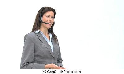 sourire, conversation, écouteurs, femme affaires