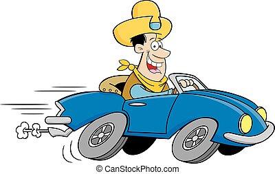 sourire, cow-boy, conduite, dessin animé, homme, sports, chapeau, voiture.