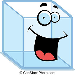 sourire, cube, glace