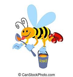sourire, cuillère, mouches, rouges, seau, abeille, rigolote, chaussures caractère, &, ouvrier, jaune, miel