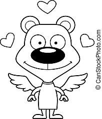 sourire, cupidon, dessin animé, ours