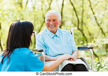sourire, dame, fauteuil roulant
