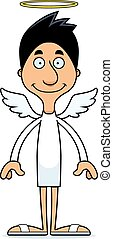 sourire, dessin animé, ange, homme