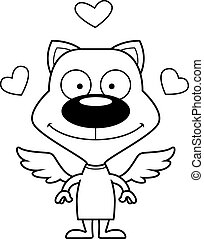sourire, dessin animé, cupidon, chaton