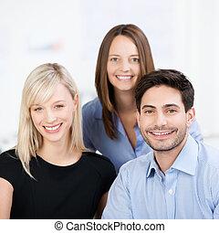 sourire, equipe affaires
