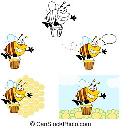 sourire, flying., collection, abeille