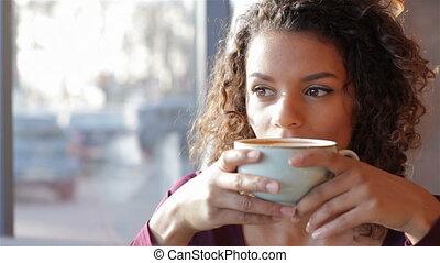 sourire, girl, boire, merveilleux, café
