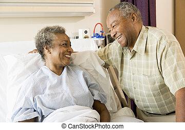 sourire, hôpital, autre, chaque, couples aînés