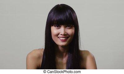sourire heureux, femme, asiatique, jeune
