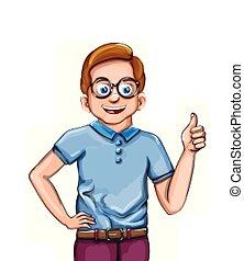 sourire heureux, garçon, vecteur, illustrations, dessin animé, caractère