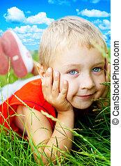 sourire, heureux, herbe, mignon, enfant, printemps