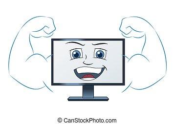 sourire, informatique, puissant