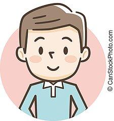 sourire, jeune, illustration, homme