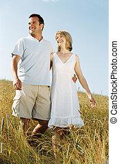 sourire, marche couples, dehors