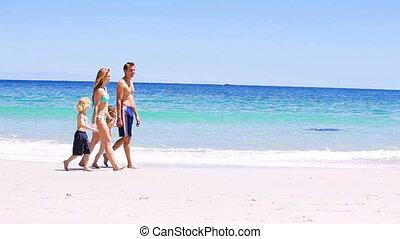 sourire, marche, famille, sable