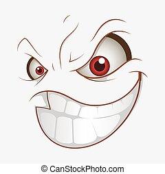 sourire, mauvais, expression, dessin animé, mal