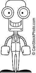 sourire, personne affaires, dessin animé, robot