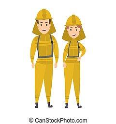 sourire, pompier, couple, heureux