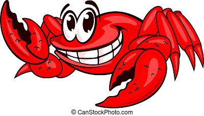 sourire, rouges, crabe